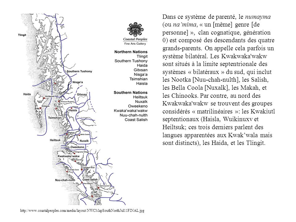 Dans ce système de parenté, le numayma (ou na'mima, « un [même] genre [de personne] », clan cognatique, génération 0) est composé des descendants des quatre grands-parents. On appelle cela parfois un système bilatéral. Les Kwakwaka wakw sont situés à la limite septentrionale des systèmes « bilatéraux » du sud, qui inclut les Nootka [Nuu-chah-nulth], les Salish, les Bella Coola [Nuxalk], les Makah, et les Chinooks. Par contre, au nord des Kwakwaka wakw se trouvent des groupes considérés « matrilinéaires »: les Kwakiutl septentionaux (Haisla, Wuikinuxv et Heiltsuk; ces trois derniers parlent des langues apparentées aux Kwak'wala mais sont distincts), les Haida, et les Tlingit.